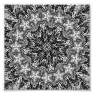 BLACK AND WHITE KALEIDOSCOPIC GEOMETRIC MANDALA PHOTOGRAPH