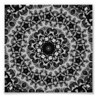 BLACK AND WHITE KALEIDOSCOPIC GEOMETRIC MANDALA PHOTOGRAPHIC PRINT