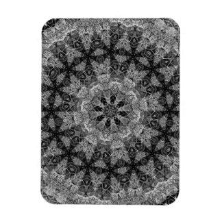 BLACK AND WHITE KALEIDOSCOPIC GEOMETRIC MANDALA RECTANGULAR PHOTO MAGNET