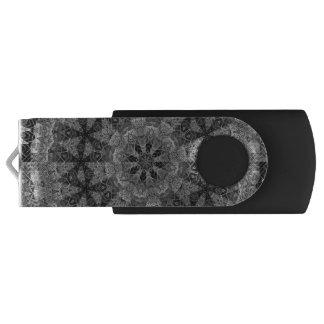 BLACK AND WHITE KALEIDOSCOPIC GEOMETRIC MANDALA SWIVEL USB 2.0 FLASH DRIVE