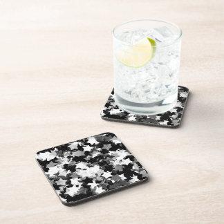 Black and White Kawaii Stars Background Coasters