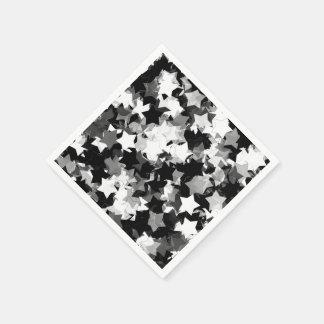 Black and White Kawaii Stars Background Disposable Napkins