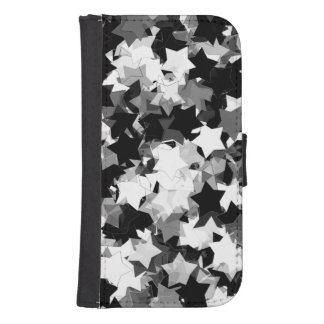 Black and White Kawaii Stars Background Phone Wallet Case