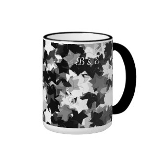 Black and White Kawaii Stars Background Ringer Mug