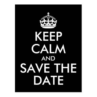 Black and White Keep Calm and Save the Date Postcard
