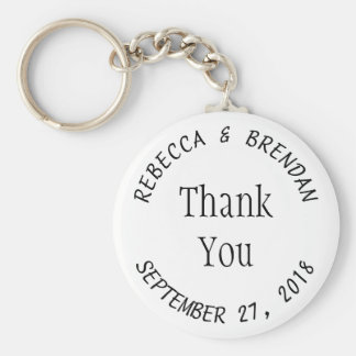Black and White Key Chain Rings Wedding Text