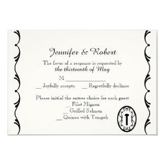 Black and White Key Wedding Response Card