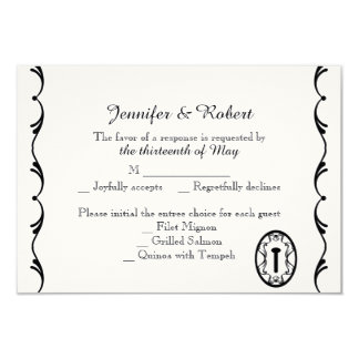 "Black and White Key Wedding Response Card 3.5"" X 5"" Invitation Card"