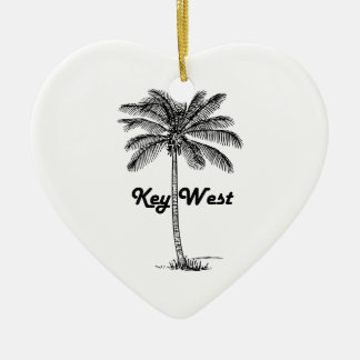 Black and White Key West Florida & Palm design Ceramic Heart Ornament