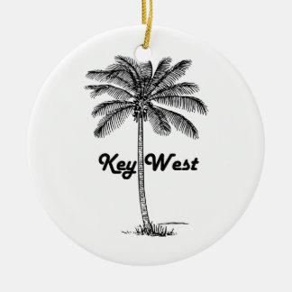 Black and White Key West Florida & Palm design Ceramic Ornament