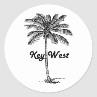 Black and White Key West Florida & Palm design Classic Round Sticker