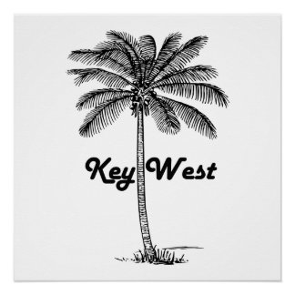Black and White Key West Florida & Palm design Perfect Poster