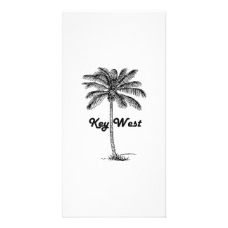 Black and White Key West Florida & Palm design Photo Card Template