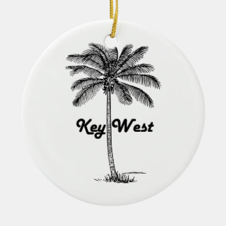 Black and White Key West Florida & Palm design Round Ceramic Ornament
