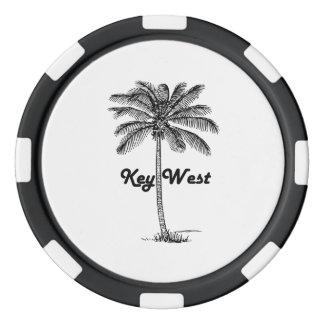 Black and White Key West Florida & Palm design Set Of Poker Chips