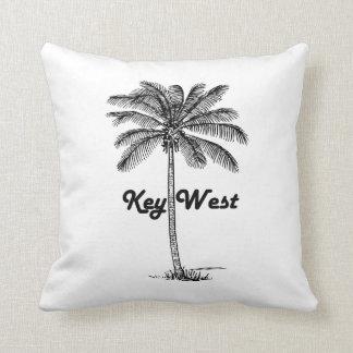 Black and White Key West Florida & Palm design Throw Pillow