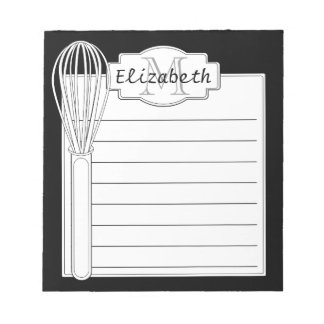 Black and White Kitchen Whisk Monogram Notepad