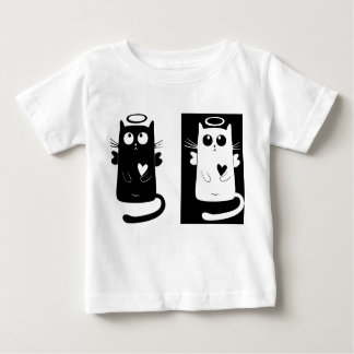 Black and White Kitten Angels - Baby T-Shirt