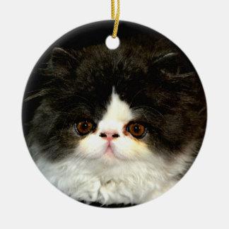 Black and White Kitten Ceramic Ornament