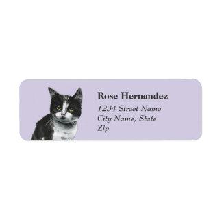 Black and White Kitten Drawing Return Address Label