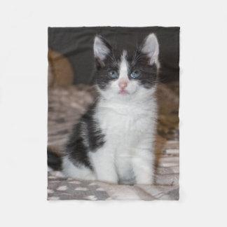Black and white kitten fleece blanket