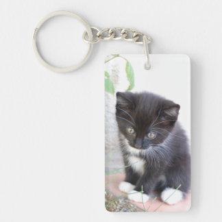 Black and White Kitten Keychain