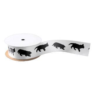 Black and White Kitten Silhouettes Satin Ribbon