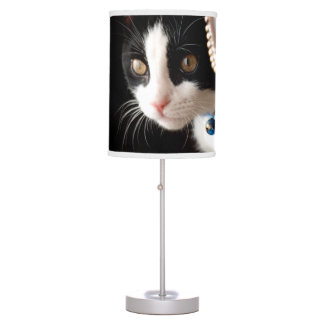 Black and White Kitten Table Lamp