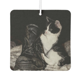 Black and white kitten with boot car air freshener