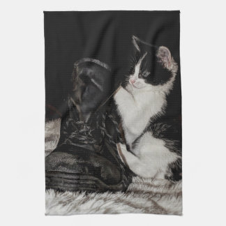 Black and white kitten with boot kitchen towel