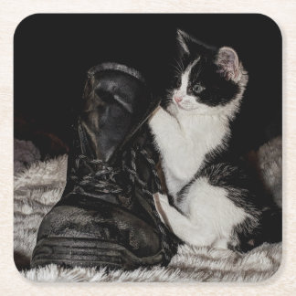 Black and white kitten with boot square paper coaster