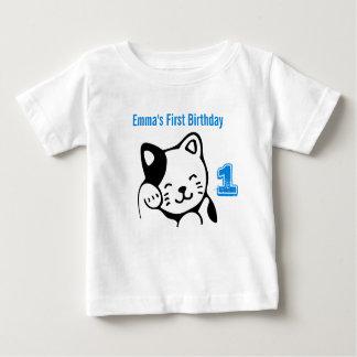 Black and White Kitty Cat Waving Hello Birthday Baby T-Shirt
