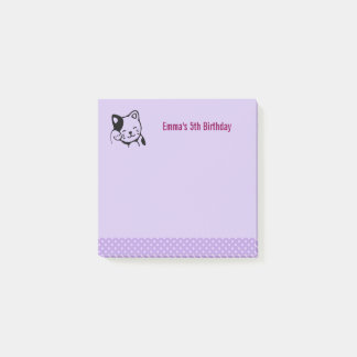 Black and White Kitty Cat Waving Hello Birthday Post-it Notes