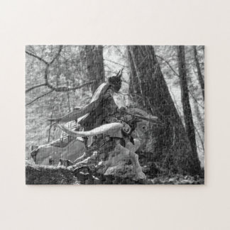 Black and White Knight Galloping Through the Woods Jigsaw Puzzle