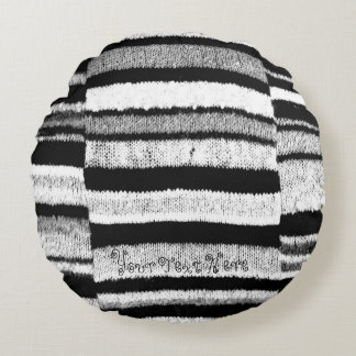 black and white knitted stripes vintage fun design round pillow