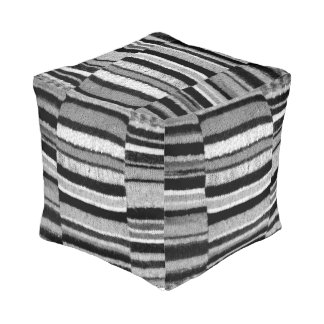 black and white knitted stripes vintage style fun pouf