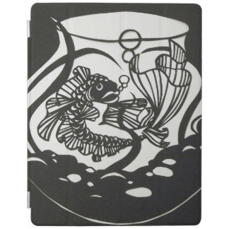 Black and White Koi Paper cut Design iPad Cover