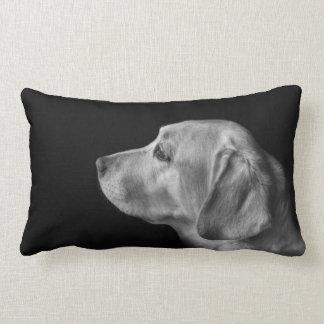 black and white labrador profile cushion