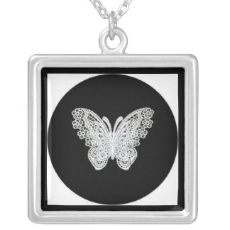 Black and White Lace Butterfly Pendant