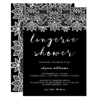 Black and White Lace Lingerie Shower Invitation