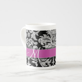 Black and White Lace Pattern Custom Monogram Tea Cup