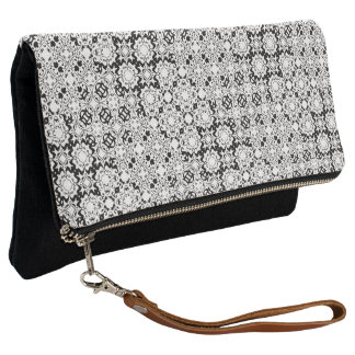 Black and White Lace Pixel Pattern Clutch