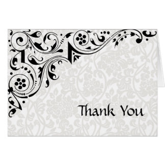 Black and White Lace Thank You Card