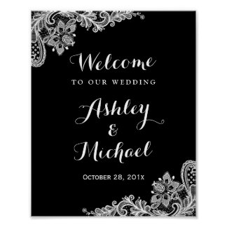 Black and White Lace Wedding Reception Sign Poster