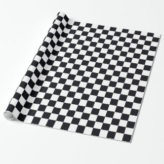 Black and White Large Checker Pattern Wrapping Paper
