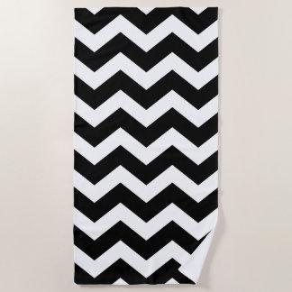 Black and White Large Chevron Pattern Beach Towel