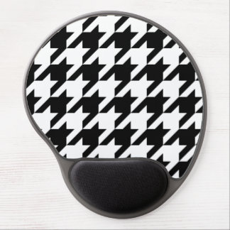 Black and White Large Houndstooth Pattern Gel Mouse Pad