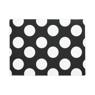 Black and White Large Polka Dot Doormat