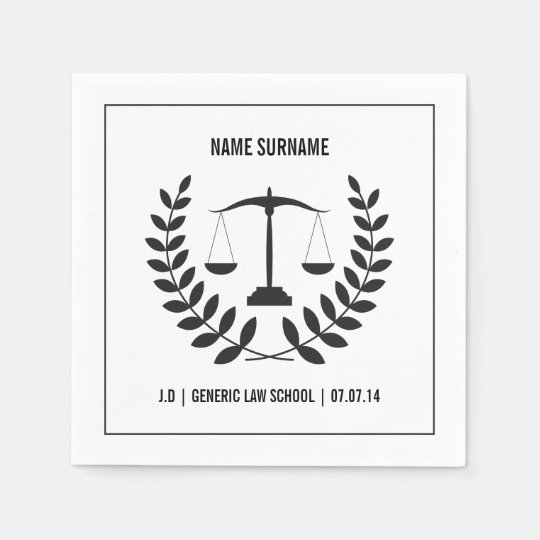 Black and White Law School Graduation Disposable Napkins