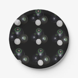 Black And White Lawn Bowls Pattern, Paper Plate